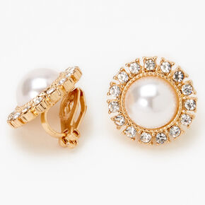 Gold Embellished Halo Pearl Clip On Stud Earrings,