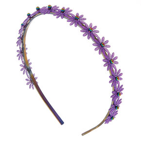 Glitter Daisy Headband - Purple,
