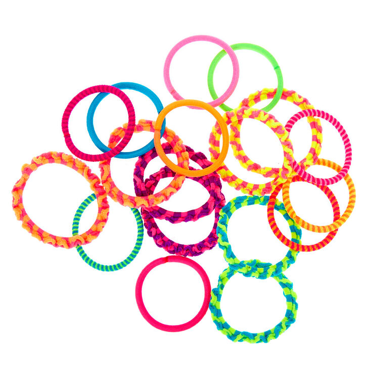 Claire's Club Neon Braided Hair Bobbles - 18 Pack,