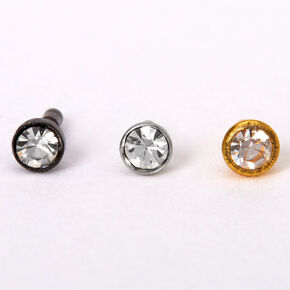 Mixed Metal 16G Crystal Labret Studs - 3 Pack,