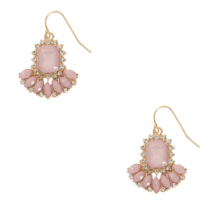 Gold Tone And Pink Gem Drop Earrings