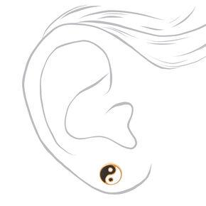 Gold Titanium Yin Yang Stud Earrings,