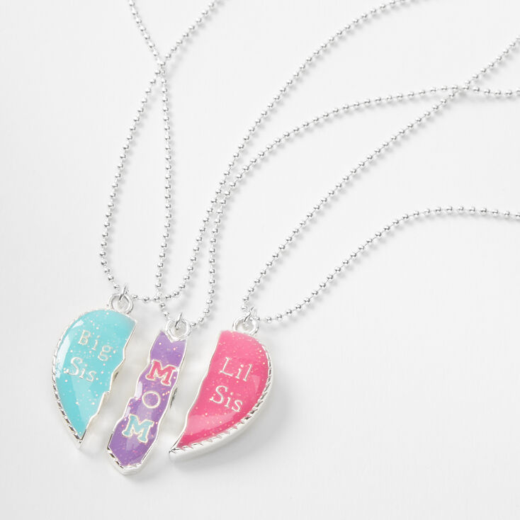 Mom, Big Sis, & Lil Sis Heart Pendant Necklaces - 3 Pack,