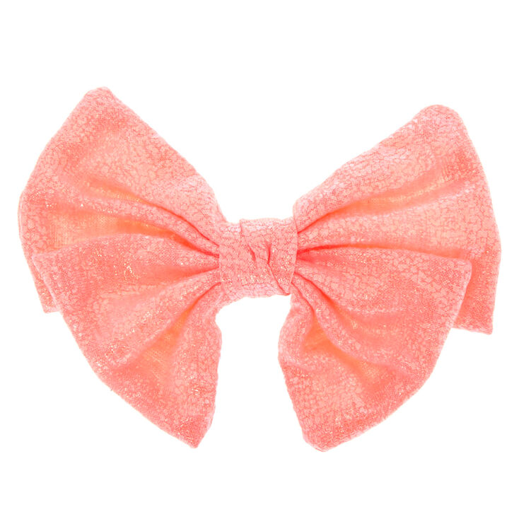Shimmer Hair Bow Clip - Coral,