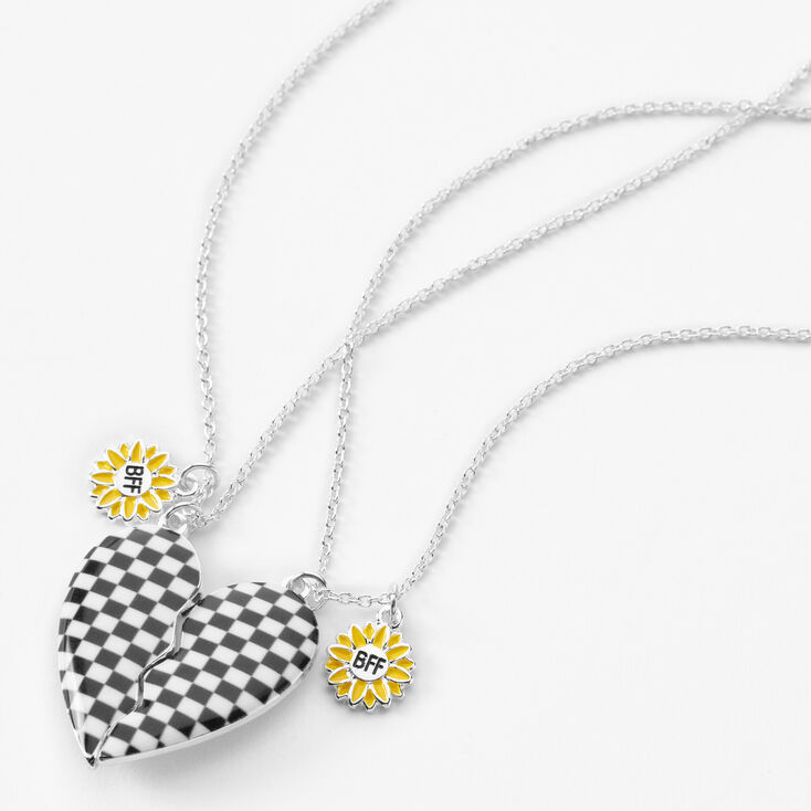 Best Friends Daisy Checkered Split Heart Necklaces - 2 Pack,