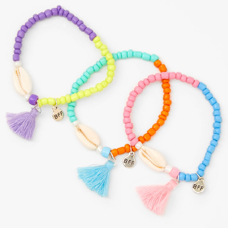 Best Friends Cowrie Shell Beaded Stretch Bracelets - 3 Pack,
