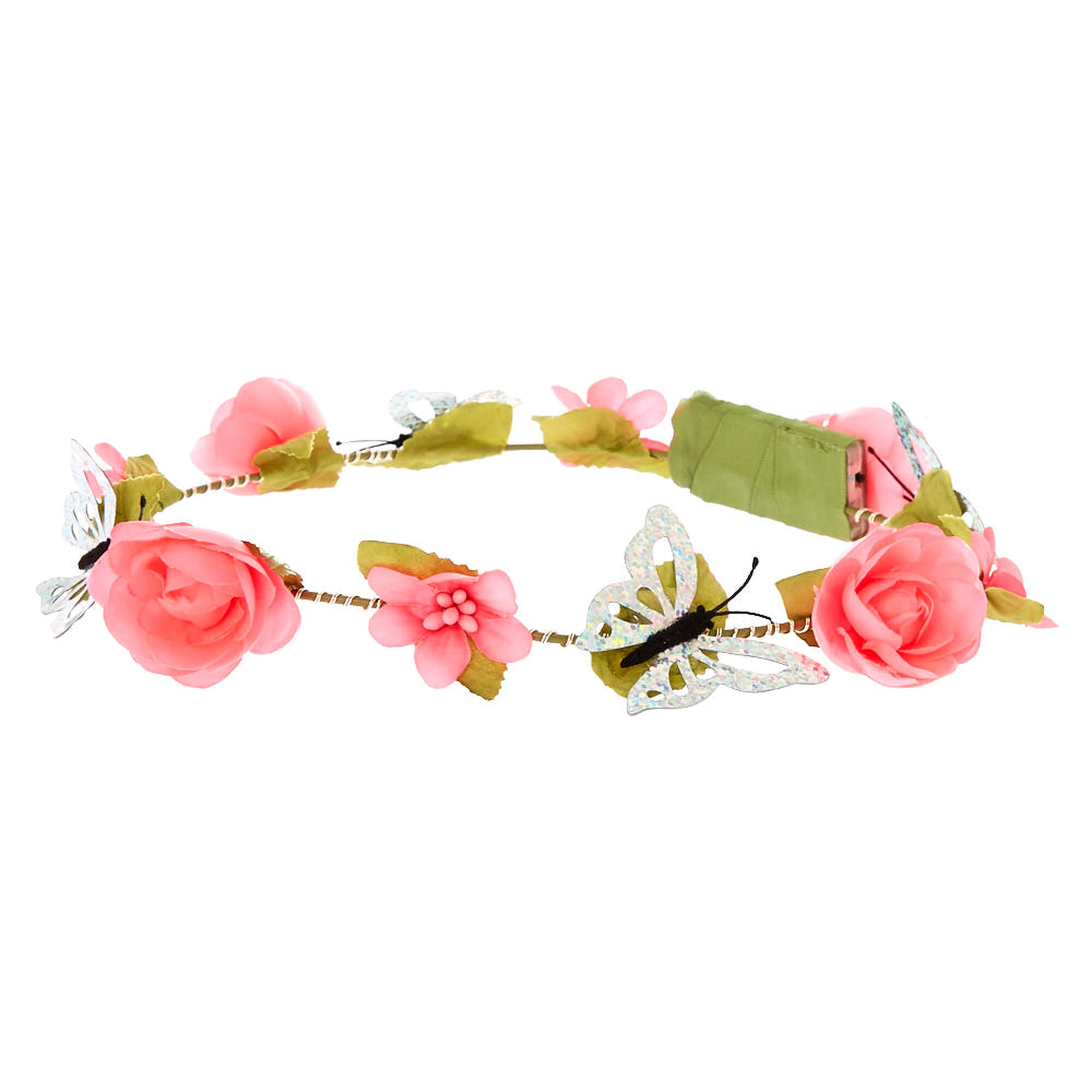 Details about  /Brand New Claire/'s Pink Flower Pearl And Jewel Wired Crown Headwrap Headband