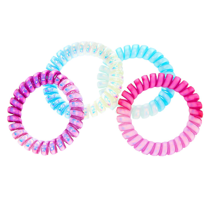 Purple & Blue Ombre Holographic Spiral Hair Bobbles - 4 Pack,
