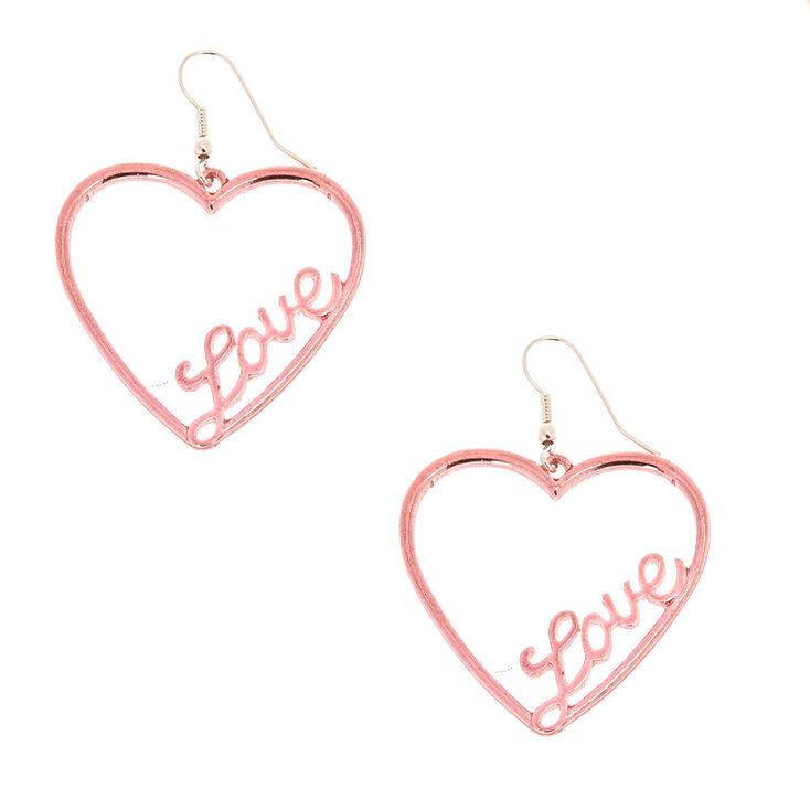 Rose-Gold Tone Heart Love Drop Earrings,