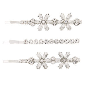 Silver Rhinestone Floral Bobby Pins - 3 Pack,