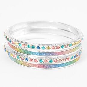 Claire's Club Glitter Rainbow Stone Bangle Bracelets - 4 Pack,