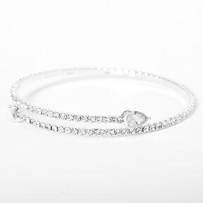 Silver Rhinestone Teardrop Cuff Bracelet,