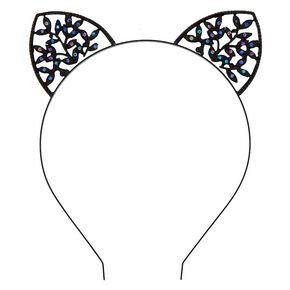 Serre-tête noir oreilles de chat façon lierre,