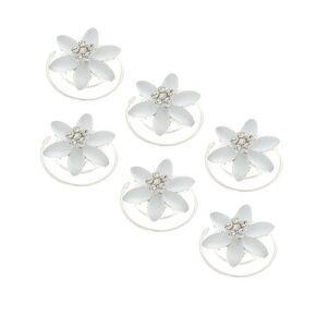 Frosted Flower Hair Spinners - White, 6 Pack,