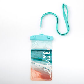 Smile Beach Waterproof Phone Pouch - Teal,