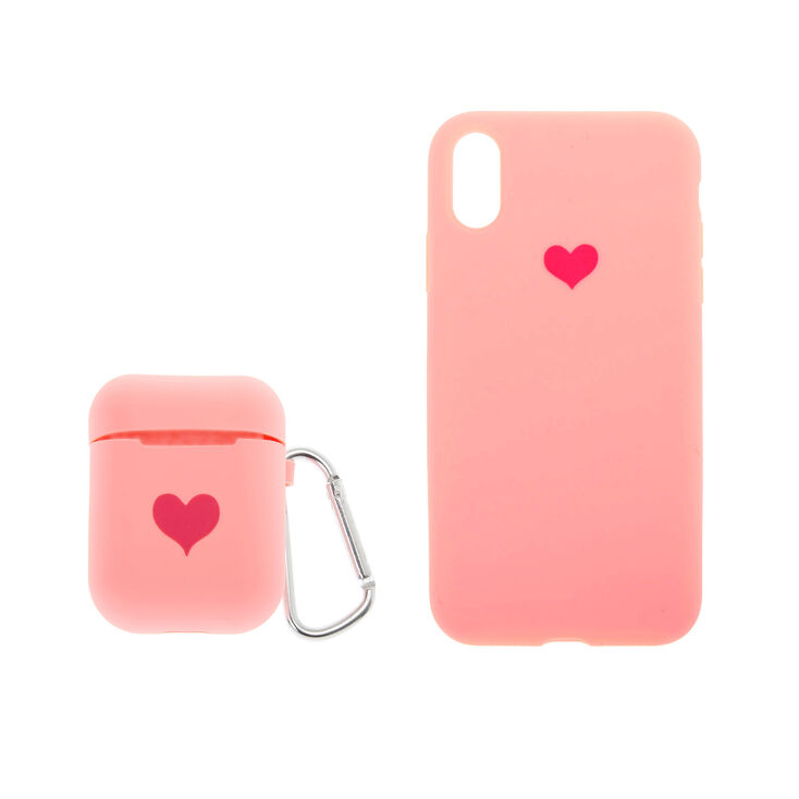 Pink Silicone Heart Tech Set,