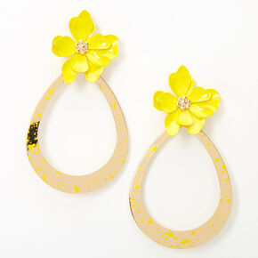 "Gold 2"" Teardrop Flower Drop Earrings - Yellow,"
