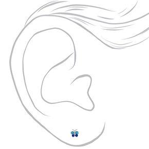 Clous d'oreilles papillon couleur argentée,
