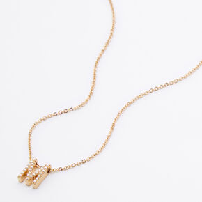 Gold Mini Pearl Initial Pendant Necklace - M,