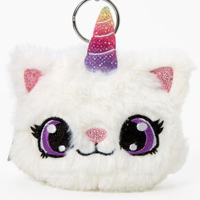 Furry Caticorn Keychain Pouch - White,