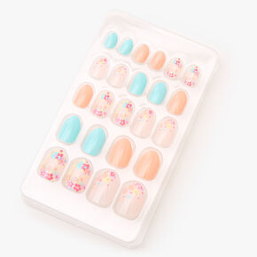 Floral Stiletto Press On Faux Nail Set - Mint/Coral, 24 Pack,
