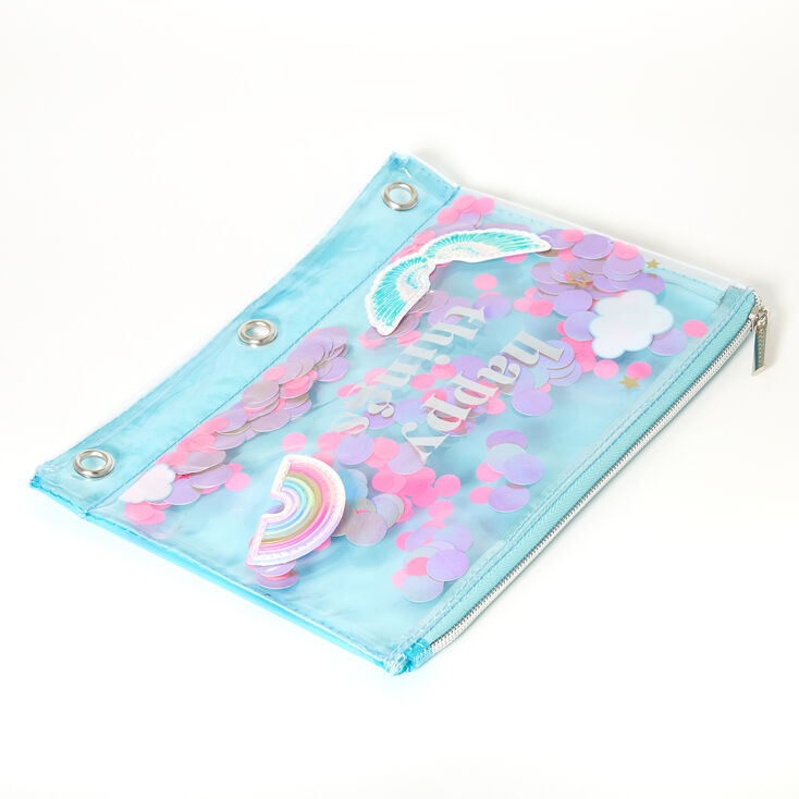 Happy Things Sequin Shaker Pencil Case - Turquoise,