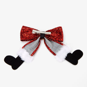 Glitter Santa Hair Bow Clip - Red,