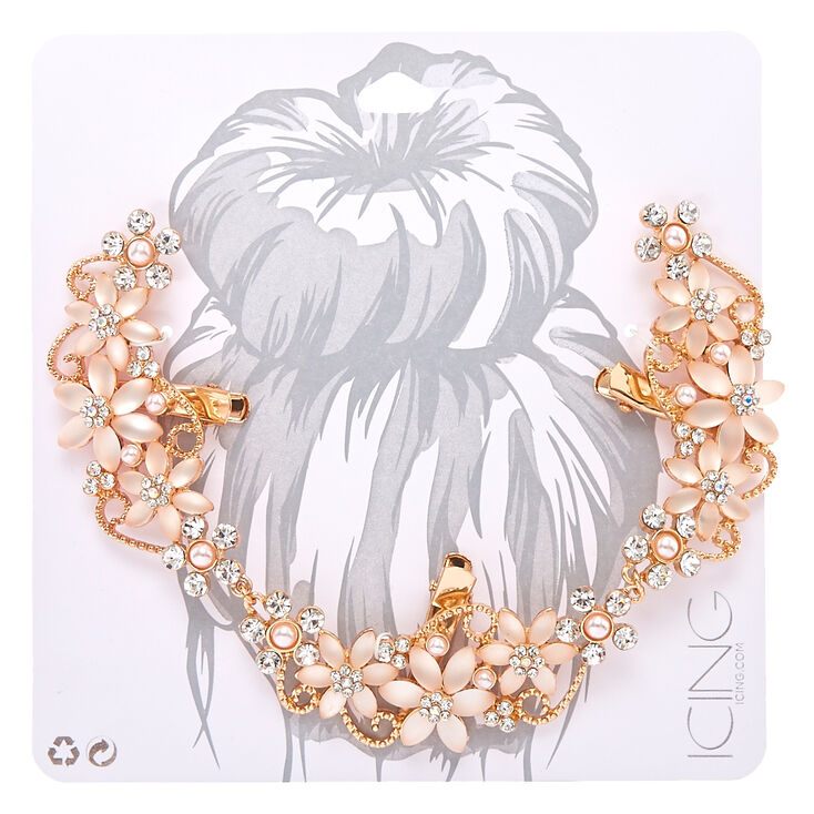 Frosted Crystal Flower Rose Gold Tone Hair Swag,