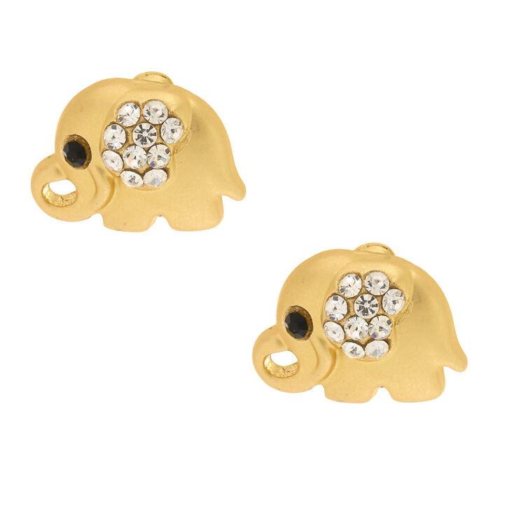Gold Elephant Stud Earrings,
