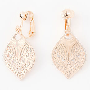 "Rose Gold 1"" Filigree Teardrop Clip On Drop Earrings,"