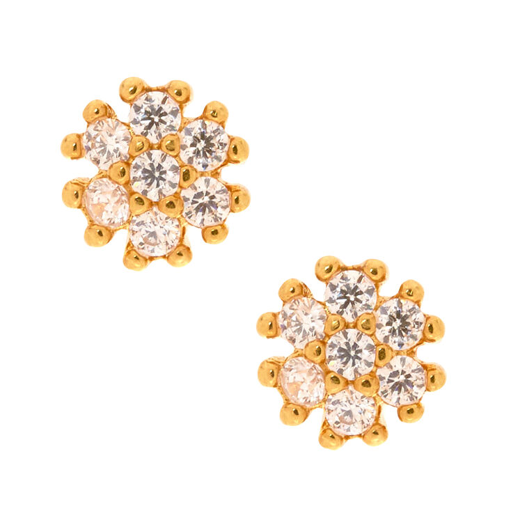 18kt Gold Plated Cubic Zirconia Crystal Dot Earrings,