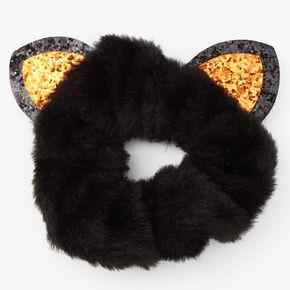 Medium Plush Cat Hair Scrunchie - Black,