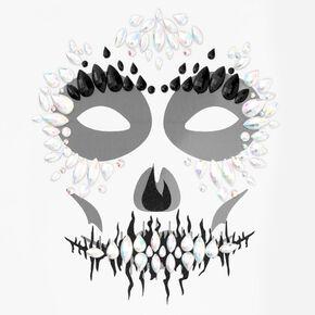 Halloween Glitter Skeleton Face Gems - Black,