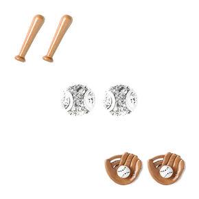 Baseball, Mitt, & Bat Stud Earrings - 3 Pack,