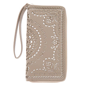 Filigree Cut Perforated Wristlet - Gray,