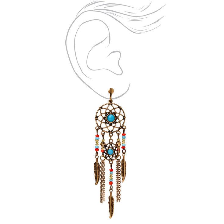 """Gold 3"""" Dreamcatcher Beaded Feather Chandelier Drop Earrings,"""
