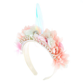 Light Up Unicorn Flower Birthday Headband,