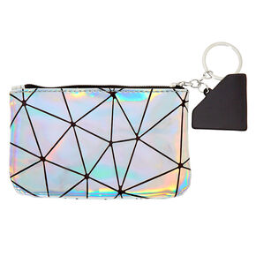 Holographic Geometric Mirror Coin Purse - Silver,