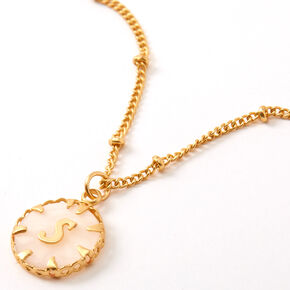 Gold Shell Initial Pendant Necklace - S,