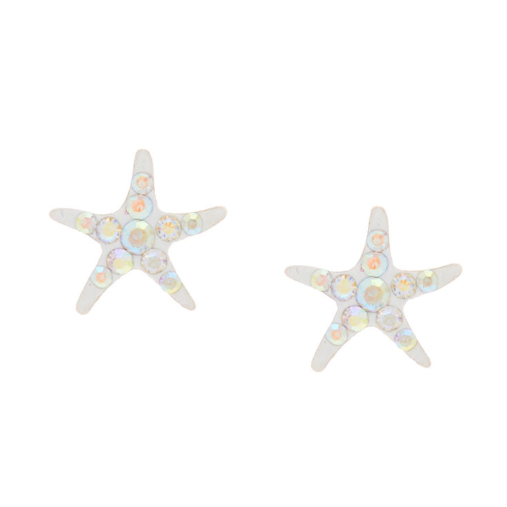 Sterling Silver Iridescent Starfish Stud Earrings
