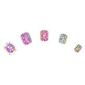 Go to Product: Holographic Disco Ball Press On Faux Nail Set -24 Pack from Claires