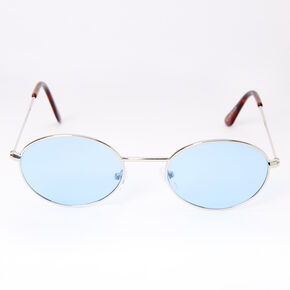 Slim Oval Sunglasses - Blue,