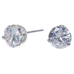 Silver Cubic Zirconia Round Stud Earrings - 7MM,
