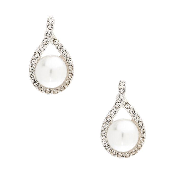 Pearl Bead and Crystal Drop Earrings,