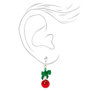"""Silver 1"""" Holiday Bells Clip On Drop Earrings,"""