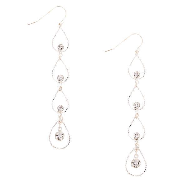 Claire's - tone linear open tear drop earrings - 1