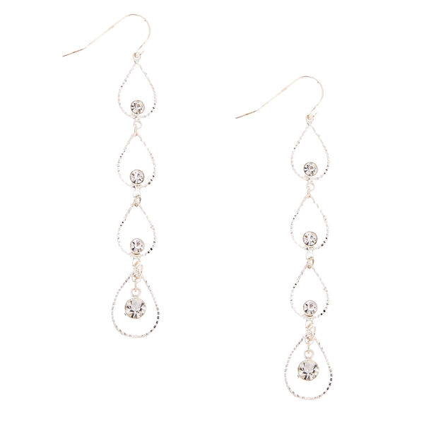 Claire's - tone linear open tear drop earrings - 1