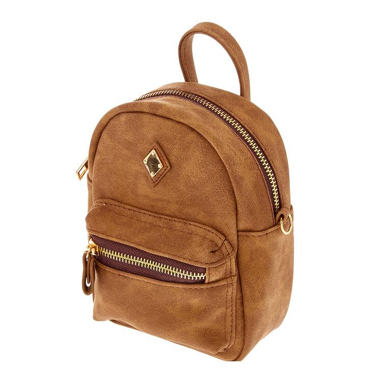 Faux Leather Mini Backpack Crossbody Bag - Cognac,