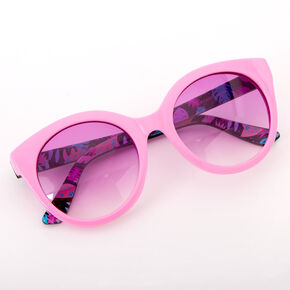 Abstract Palm Leaf Rounded Mod Sunglasses - Pink,