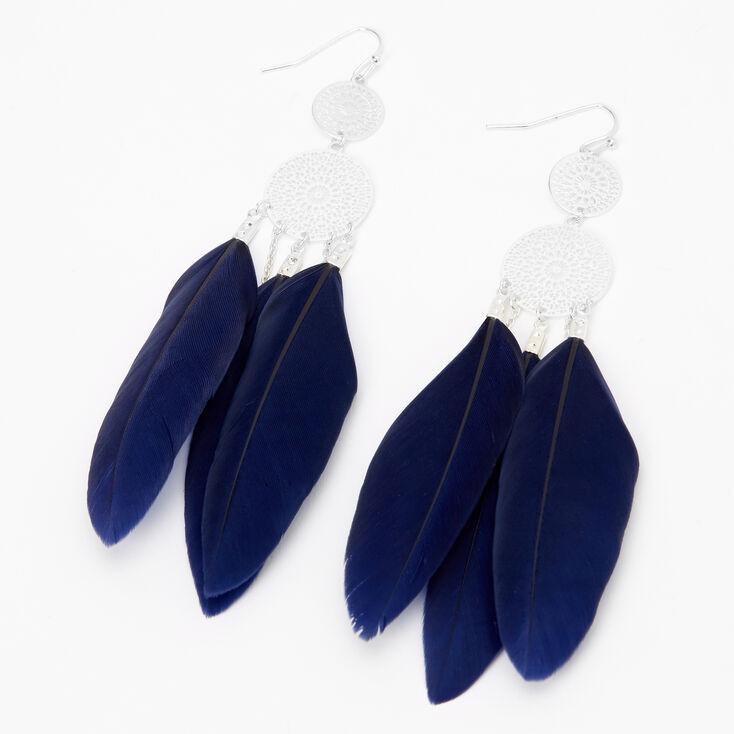 "Silver 4"" Medallion Filigree Feather Drop Earrings - Navy,"
